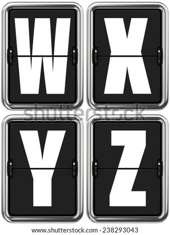 Letters W X V Z - Set of Alphabet on Mechanical Scoreboard. - stock photo