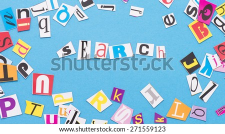 Letters with the word search. Conceptual image of finding and exploring information. - stock photo
