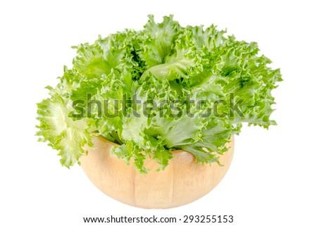 lettuce in basket on white background - stock photo