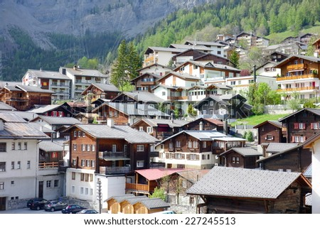 LEUKERBAD, SWITZERLAND - MAY 22, 2014: A view of the town and the surrounding Alps in Leukerbad, Switzerland. - stock photo