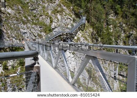 Leutasch Gorge in the German alps, Bavaria - stock photo