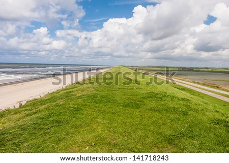Levee at the North Sea in the Netherlands - stock photo