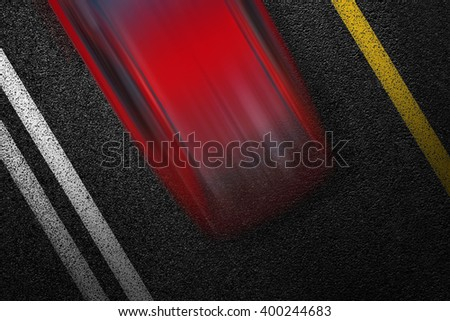 Level asphalted road with a dividing white and yellow stripes and moving with high speed a red car. The texture of the tarmac, top view. - stock photo