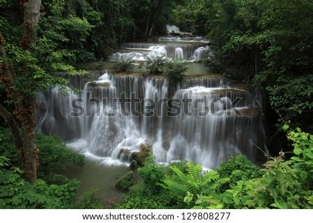 Level four of Huai Mae Kamin Waterfall in Kanchanaburi Province, Thailand - stock photo