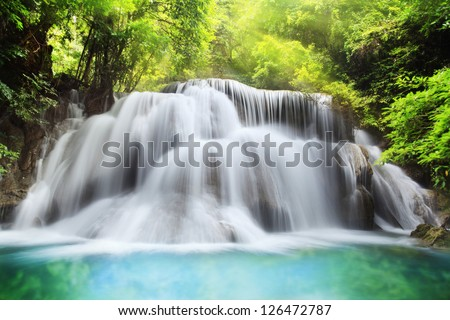 Level three of Huai Mae Kamin Waterfall in Kanchanaburi Province, Thailand - stock photo