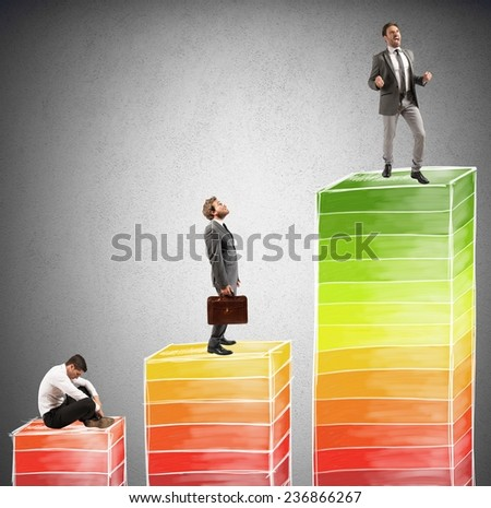 Levels of career and success in work - stock photo