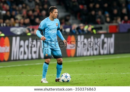 Leverkusen, Germany- December 9, 2015: Adriano Correia during the UEFA Champions League game between Bayer 04 Leverkusen vs Barcelona at BayArena stadium - stock photo