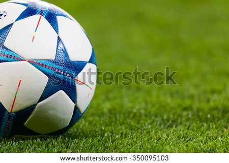 Leverkusen, Germany- December 9, 2015: Champions League football balls in the field before the match of the Champions League  Bayer 04 Leverkusen vs Barcelona at BayArena stadium - stock photo