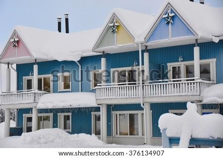 Levi, Kittilae, Finland. Beautiful winter scenery - stock photo