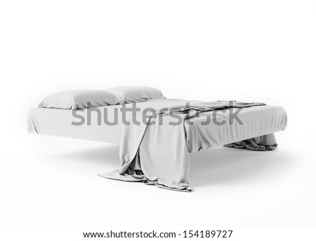 Levitate White Bed In Empty Space Isolated on White, Render - stock photo