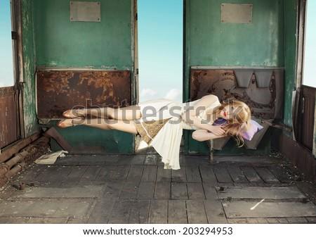 Levitating woman - stock photo