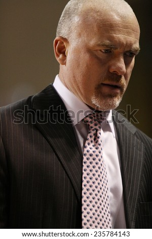 LEWISBURG, PA. - NOVEMBER 28: Penn State�s Pat Chambers looks intense  during a basketball game against Bucknell on November 28, 2014  Sojka Pavilion in Lewisburg, PA. - stock photo