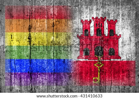 LGBT and Gibraltar flag on concrete wall  - stock photo
