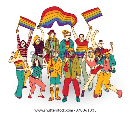 Lgbt people community set isolated group. Color illustration.  - stock photo