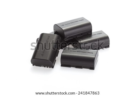 li-on battery for the camera. Placed on a white background . isolated - stock photo