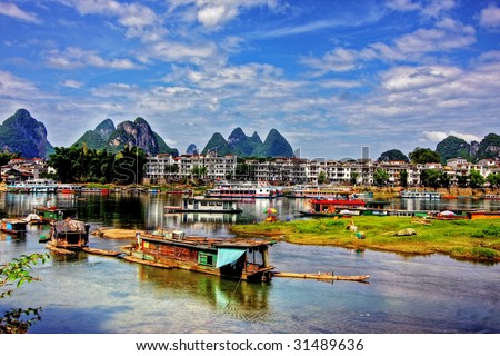Li river karst mountain landscape in Yangshuo, China - stock photo