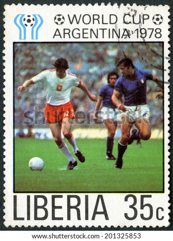 LIBERIA - CIRCA 1978: A stamp printed in Liberia shows Soccer, Poland and Italy, dedicated the 11th World Cup Soccer Championships, Argentina, June 1-25, circa 1978 - stock photo