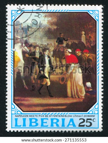 LIBERIA - CIRCA 1970: stamp printed by Liberia, shows Napoleon meets Pope Pius VII by Jean Louis Demarne, circa 1970 - stock photo