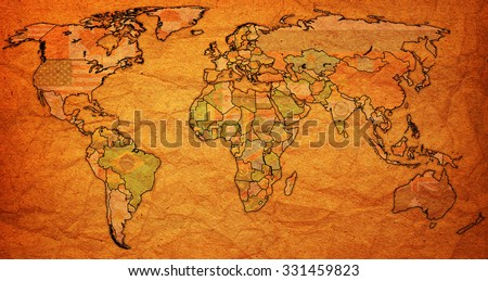 liberia flag on old vintage world map with national borders - stock photo