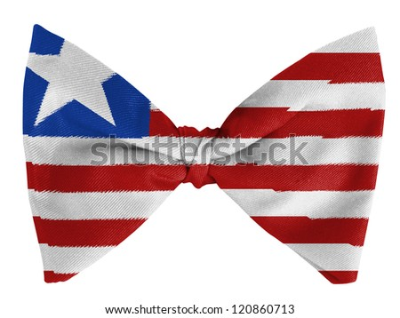 Liberia. Liberian flag  on a bow tie - stock photo