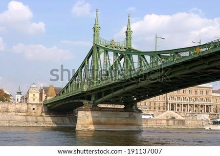 Liberty Bridge or Szabadsag hid over Danube river in Budapest, Hungary  - stock photo
