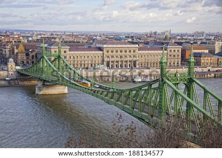 Liberty Bridge (Szabadsag hid) over Danube river in Budapest, Hungary - stock photo