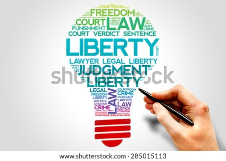 Liberty bulb word cloud concept - stock photo