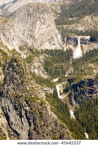 liberty cap, nevada falls and vernal falls - stock photo