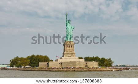 Liberty Island and the Statue of Liberty, New York - stock photo