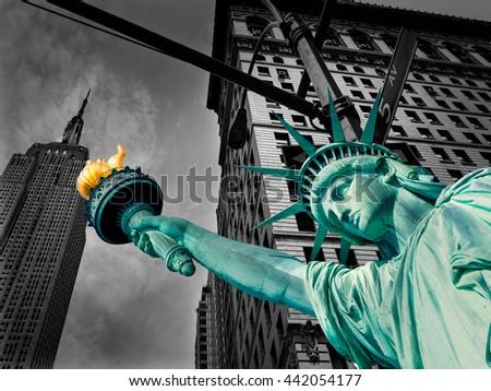 Liberty Statue and Empire State building New York American Symbols USA photomount - stock photo