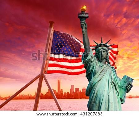 Liberty Statue New York skyline and American flag Symbols USA photomount - stock photo