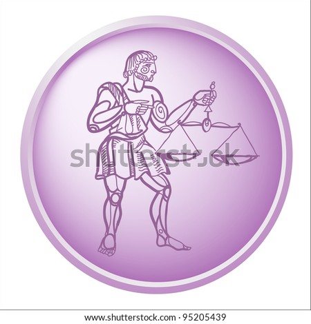 libra, button with sign of the zodiac - stock photo