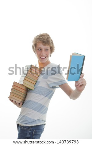 library book student with stack of books - stock photo