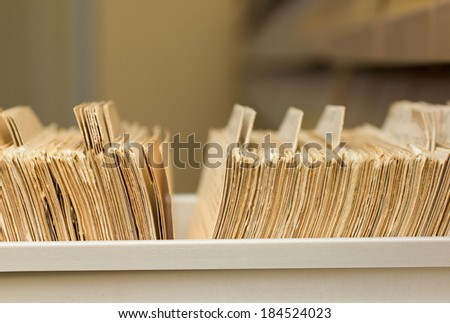 library catalog cards - stock photo