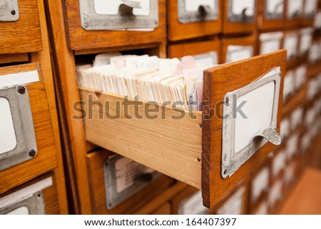 Library drawers - stock photo