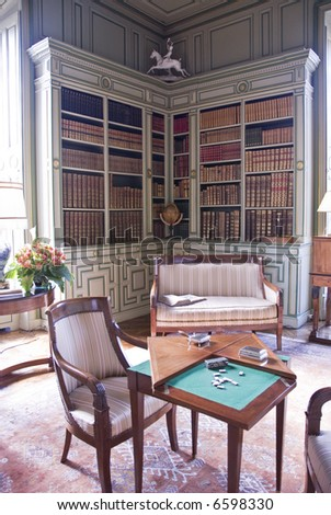 Library in Chateau Cheverny. Loire Valley, France. - stock photo