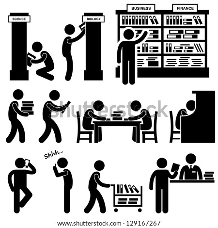 Library Librarian Bookstore People Student Stick Figure Pictogram Icon - stock photo