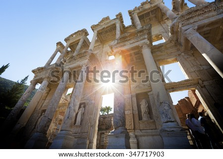Library of Celsus, ruins of ancient city Ephesus, Turkey - stock photo