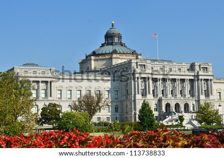 Library of Congress in autumn, Washington DC United States - stock photo
