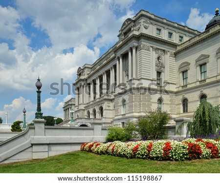 Library of Congress in Washington DC - Thomas Jefferson Building and garden - stock photo