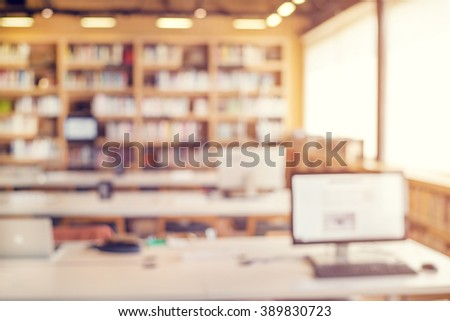 Library room interior blur background for your design - vintage color style - stock photo