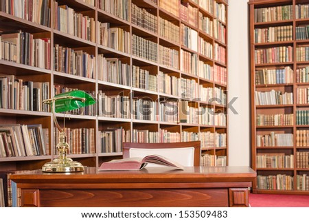 Library table - stock photo