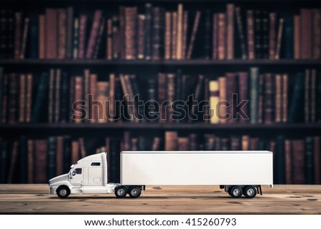 Library. Trailer car - stock photo