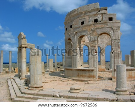 Libya. Ancient Leptis Magna - Market. One from two tholoi surrounded by porticoes. - stock photo