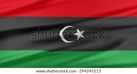 Libya Flag. Flag with a beautiful glossy silk texture. - stock photo