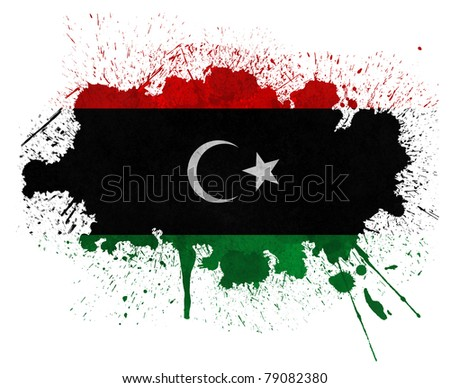 Libya paint splatter grunge flag - stock photo