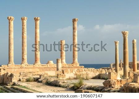 Libya Tripoli Leptis Magna Roman archaeological site  Unesco World Heritage Site - stock photo