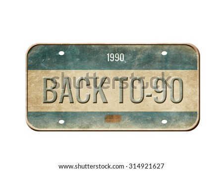 License plate isolated on white background - stock photo