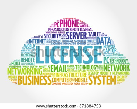 LICENSE word cloud, business concept - stock photo