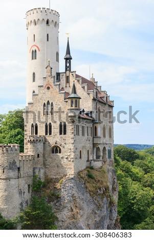 Lichtenstein castle in germany - stock photo